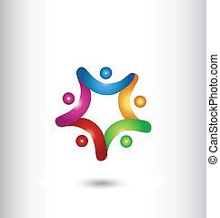 logo, siła robocza, gwiazda, dzierżawa, teamwork