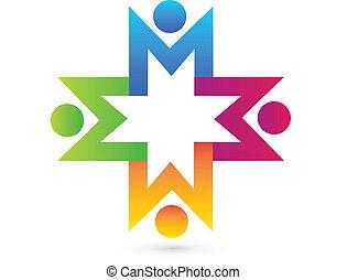logo, siła robocza, teamwork, dzierżawa, ludzie