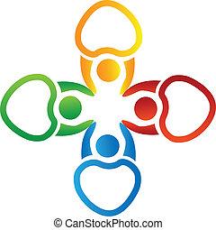 logo, siła robocza, wektor, dzierżawa, ludzie