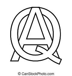 Logo sign aq, qa icon sign two interlaced letters A,Q vector logo aq, qa first capital letters pattern alphabet a, q