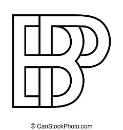 Logo sign bp, pb icon sign two interlaced letters B and p vector logo bp, pb first capital letters pattern alphabet b, p