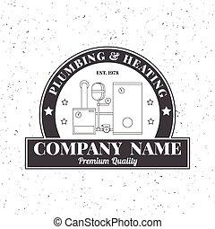 logo, signe, chauffage, business, monochrome, ton, template., élégant, plomberie, concept, company., constitué, étiquettes, identité, badges., vendange, design., services