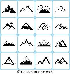 logo, signes, ensemble, sommets montagne