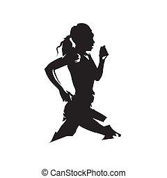 logo, silhouette., aanzicht, rennende , uitvoeren, abstract, vrouw, bovenkant, vrijstaand, vector