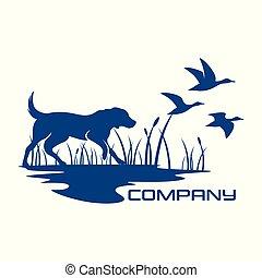 logo, silhouette, hund, jagen