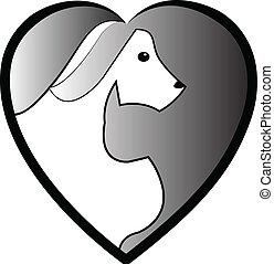 logo, silhouette, hund, katz