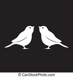 Logo silhouette of a bird is white on a black isolated background. Vector image