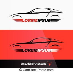 logo, silhouette, sportscar, véhicule