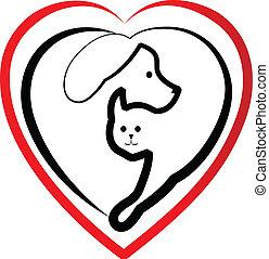 logo, silhouetten, köpfe, hund, katz