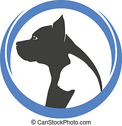 logo, silhouettes, chien, chat