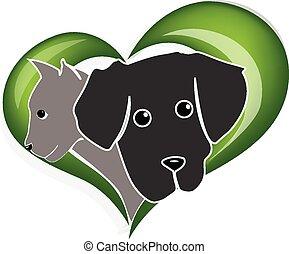 logo, silhuetter, hoveder, hund, kat