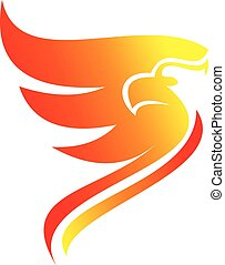 logo simple flaming phoenix