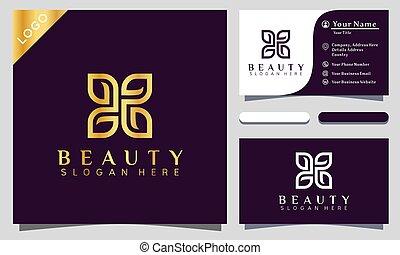 logo, skönhet, guld, blomma, kort, fjäril, vektor, nymodig, design, affärsverksamhet illustration, template.