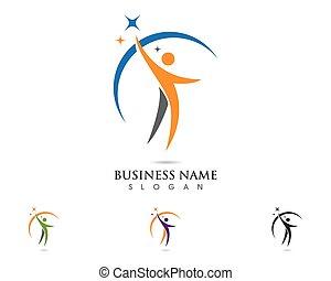 logo, skabelon, folk