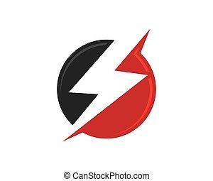 logo, skabelon, lyn
