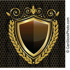 logo, skjold, guld