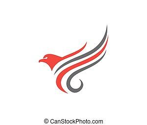 logo, skrzydło, szablon, v