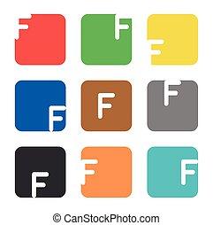 logo, skwer, element, litera f