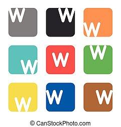logo, skwer, element, w, litera