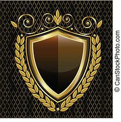 logo, skydda, guld