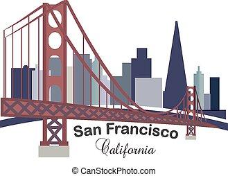 logo, skyline, kalifornien, gebäude