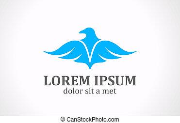 Soaring Bird logo Abstract. Luxury style icon.