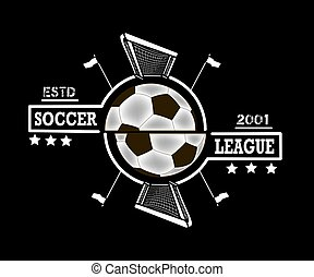 Logo soccer league with gates and flags on corner kick on...