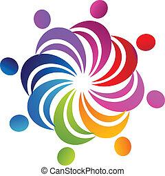 logo, sociaal, figuren, teamwork