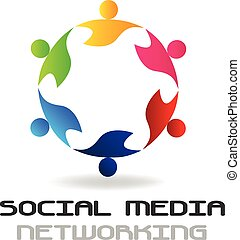 logo, sociaal, teamwork, media