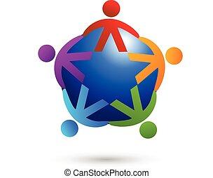 logo, sociaal, teamwork, media