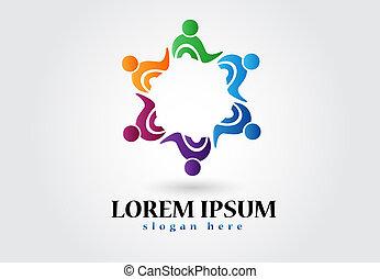logo, sociaal, teamwork, mensen