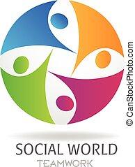 logo, sociaal, teamwork, zakelijk, media