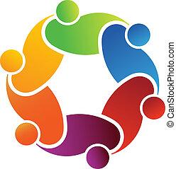 logo, social, amis