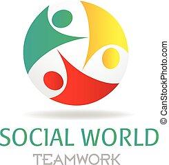 logo, social, collaboration, business, média