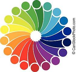 logo, social, gens, média