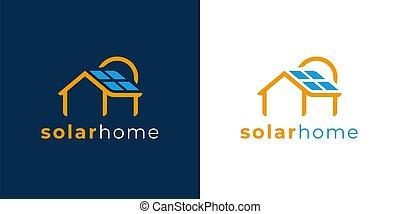 logo, solaire, icône, maison