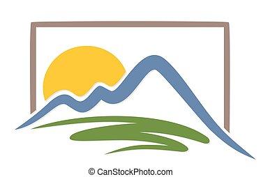 logo, soleil, à, montagnes.