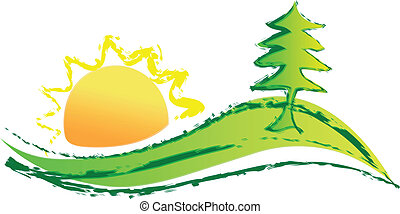 logo, soleil, colline, arbre