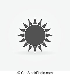 logo, soleil, noir, ou, icône