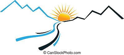 logo, soleil, rivière, montagne