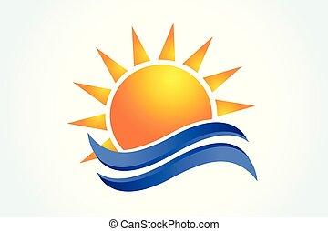 logo, soleil, vagues