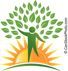 logo, solskin, træ, folk