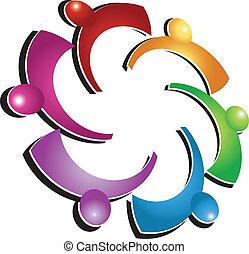 logo, sozial, gemeinschaftsarbeit, leute