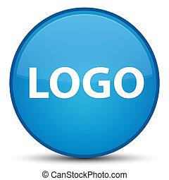 Logo special cyan blue round button