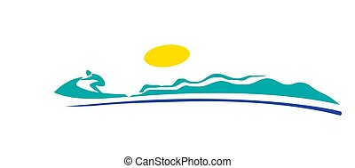 logo., speed., icon., sea., waves., bike., pictogram., homme...