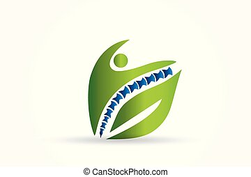 Logo spine green health chiropractor id card business icon vector image design