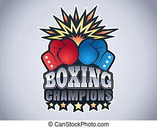 logo, sport, boxe