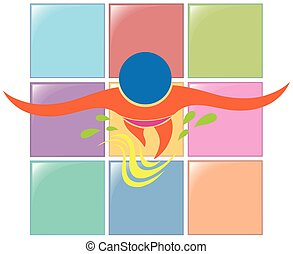 logo, sport, conception, natation