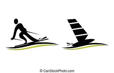 logo, sport, komplet, szablon
