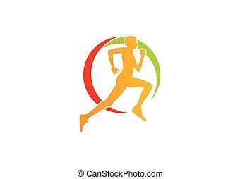 logo, sport, løb, folk, duelighed